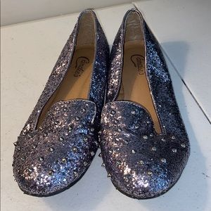 Candies glitter and spiked flats shoes